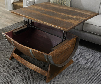 Lift-Top Reclaimed Wine Barrel Coffee Table