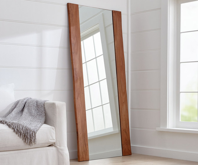 Live Edge Acacia Wood Floor Mirror