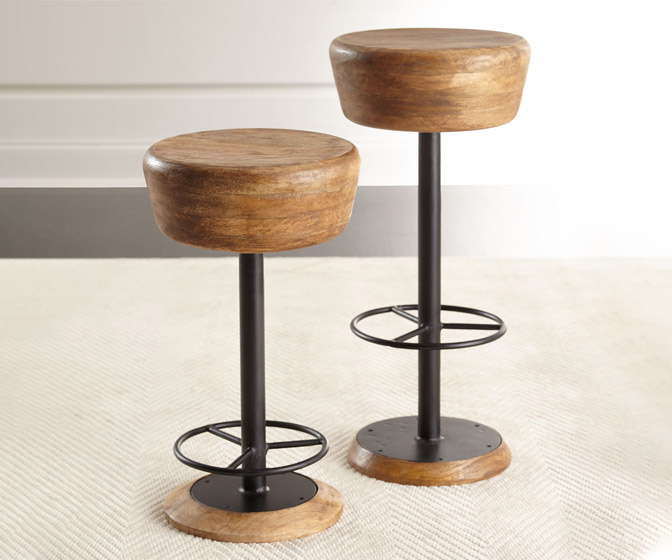 Mango Wood and Iron Swivel Stools