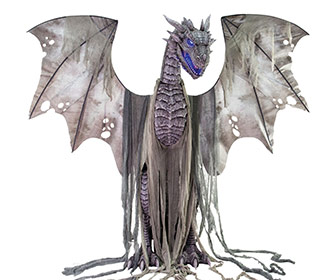 Massive 7 Foot Tall Animatronic Winter Dragon Statue