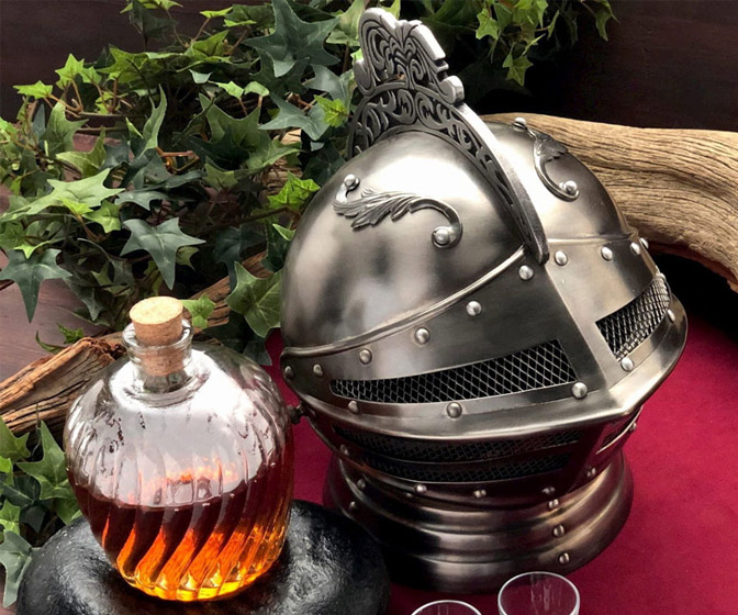 Medieval Knight Helmet Decanter Set