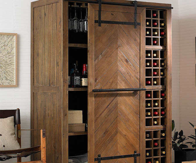 Mesa Sliding Barn Door Armoire - Rustic Wine Cellar / Liquor Cabinet