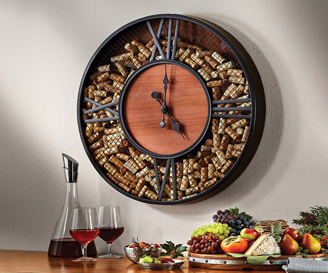 Mesh Wine Cork Catcher Wall Clock