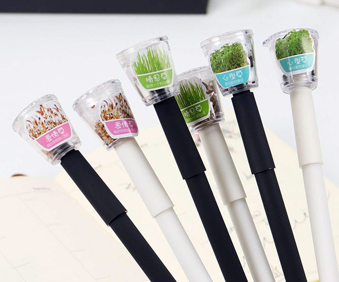 Miniature Garden Pens With Living Plants in the Caps