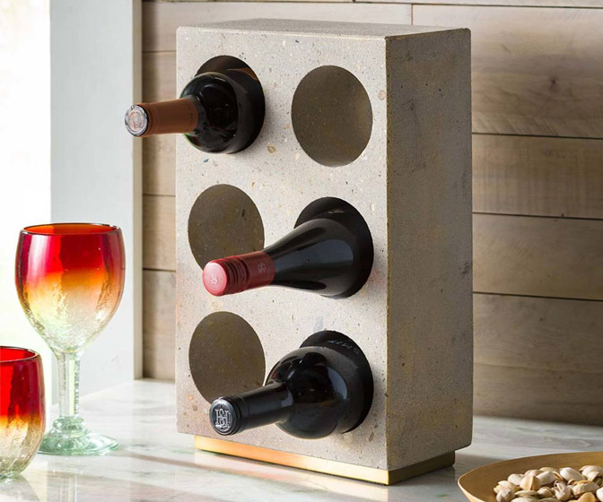 Minimalist Concrete Wine Bottle Holder