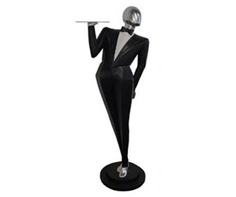 Moderno Man - Life-Sized Butler Statue With Serving Tray