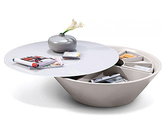 Modrest Pepper - Modern Coffee Table With Swivel Storage Compartment