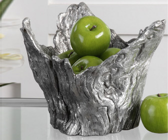 Molded Tree Stump Silver Leaf Bowl