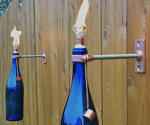 Mounted Wine Bottle Tiki Torches