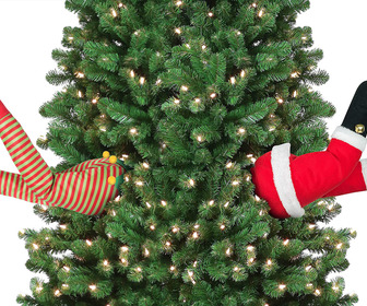 Mr. Christmas Animated Kicking Santa and Elf Legs - Stuck In The Christmas Tree Decor