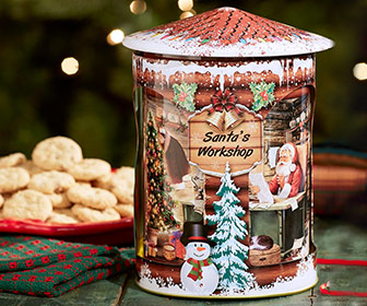 Musical Rotating Santa's Workshop Cookie Tin