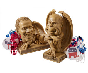 Obama Dragon and McCain Gargoyle Election Year Campaign Statues