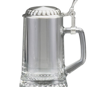 Oktoberfest Glass Beer Stein with Pewter Lid