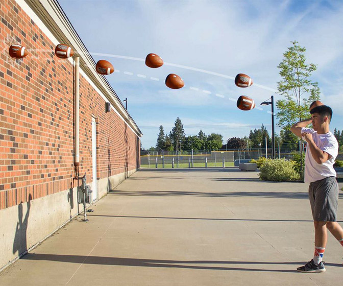 Passback Football - Throw Against a Wall and It Spirals Back To You!