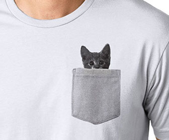 Peeking Cat Pocket T-Shirt