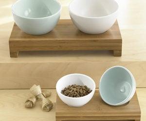 modern pet bowls bamboo stands - Cat Bowls
