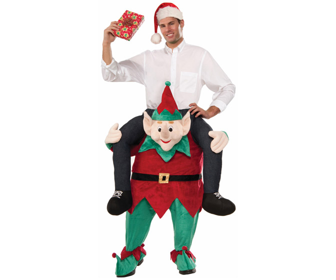 Piggyback Ride on an Elf Christmas Costume