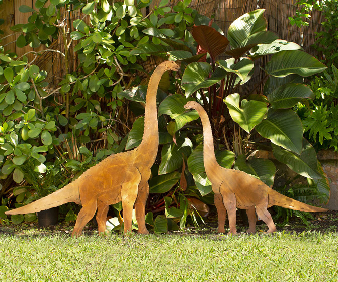 Plant Eating Brontosaurus Metal Lawn Sculptures