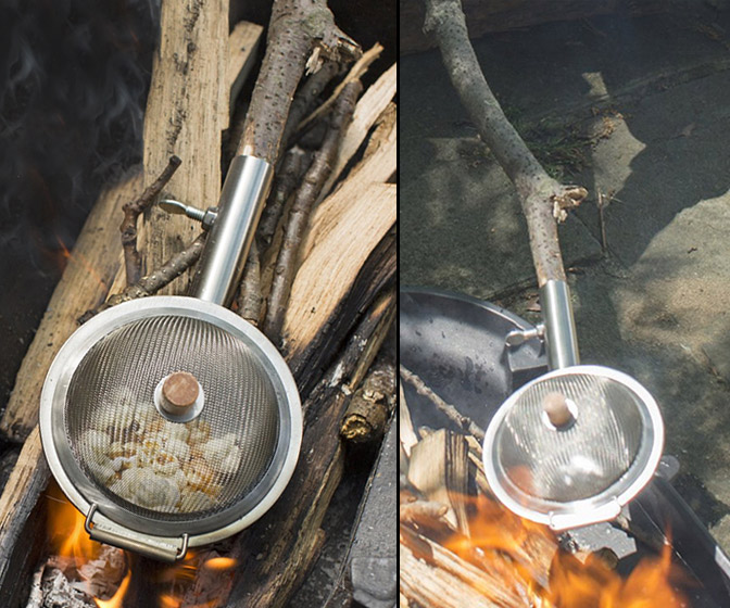 Portable Campfire Popcorn Maker - Uses a Tree Branch as a Handle