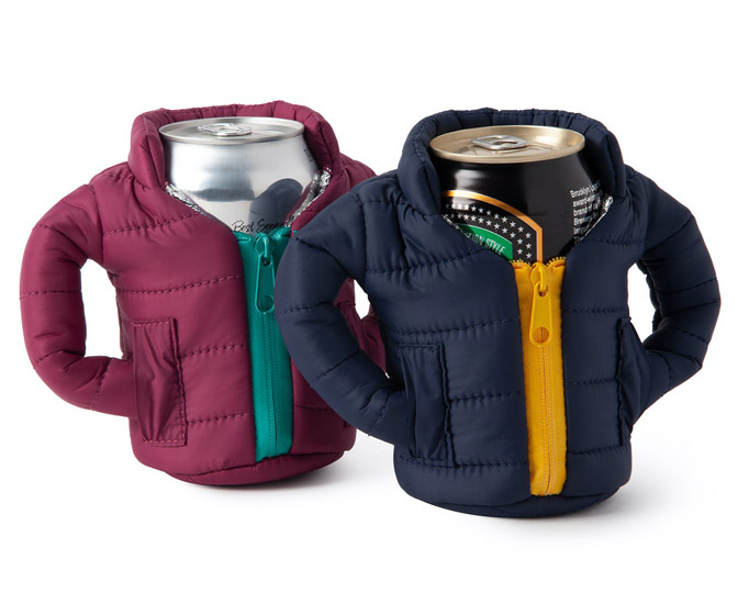 Puffer Jacket Beer Can Koozies