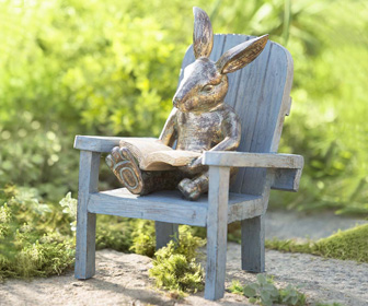 Reading Rabbit Garden Statue