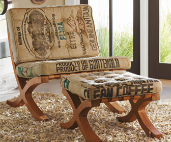 Reclaimed Coffee Sack Butaca Chair and Footstool