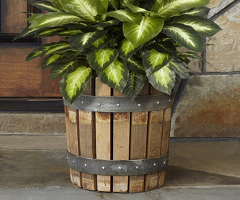 Reclaimed Wine Barrel Stave Planter