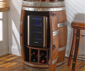 Reclaimed Wine Barrel With Built-In Wine Fridge