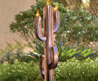 Recycled Metal Saguaro Cactus Torch