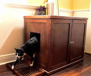 Refined Feline Wooden Litter Box Cabinet