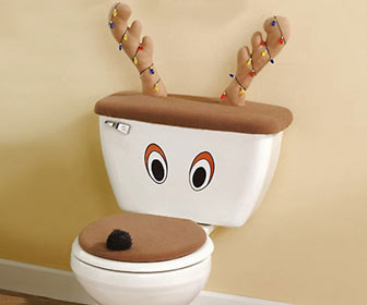 Reindeer Toilet Seat Cover And Antlers Set