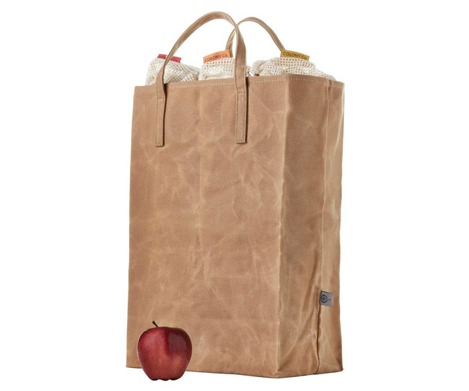 Reusable Brown Grocery Bag - Waxed Canvas Tote