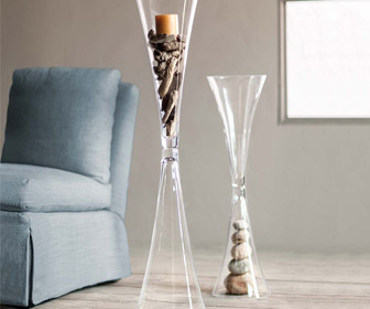 Reversible Cinched Glass Floor Vase / Centerpiece