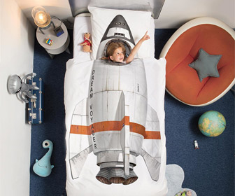 Rocket Ship Duvet and Pillowcase Set