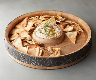Rustic Barrel Top Chip and Dip Server