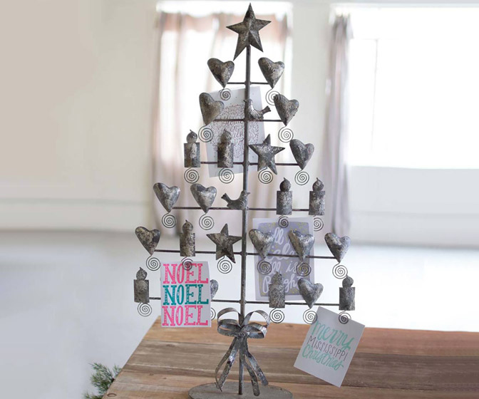Rustic Metal Christmas Card Tree