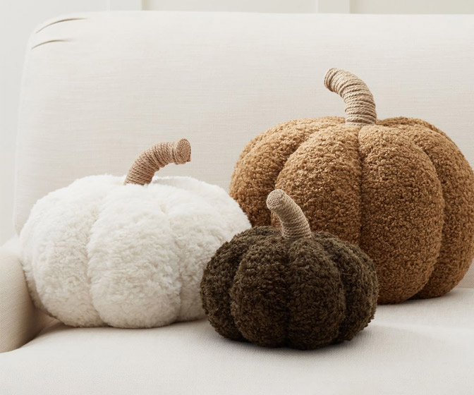 Rustic Pumpkin Pillows w/ Teddy Bear Fur Fabric