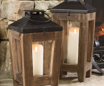Rustic Reclaimed Wood and Metal Lanterns