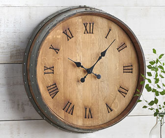 Rustic Wine Barrel Head Wall Clock