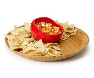 Salsabol - Perfect Scoop Raised Edge Salsa Bowl and Bamboo Platter
