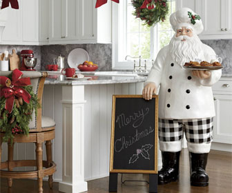 Santa Chef Statue with Serving Tray and Chalk Board Menu
