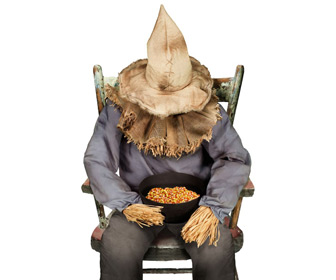Scary Animatronic Sitting Scarecrow