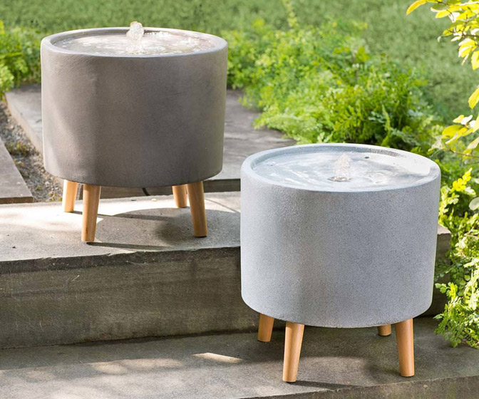 Sculptural Concrete Water Fountains with Built-In LED Lighting
