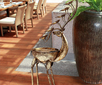 Sculptural Metal Deer Antlers Cascading Fountain
