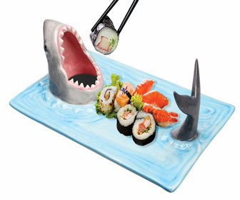 Shark Attack Ceramic Sushi / Soy Sauce Serving Platter
