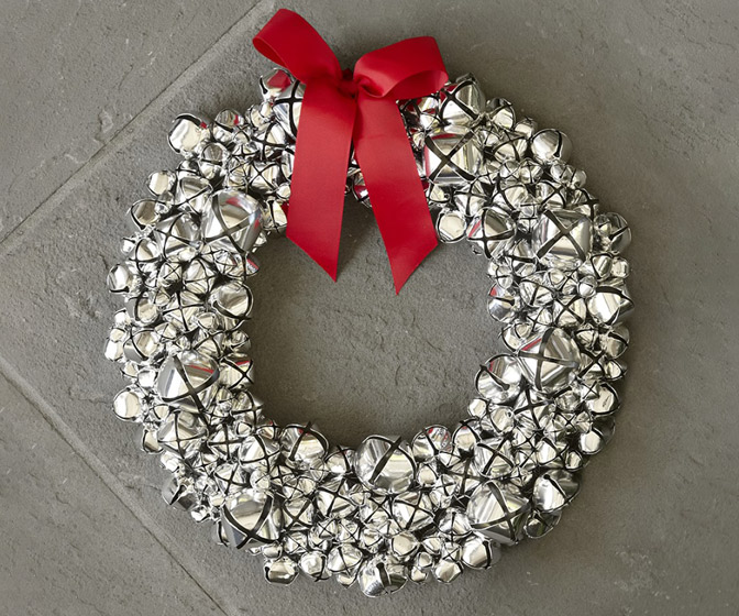 Silver Jingle Bells Wreath