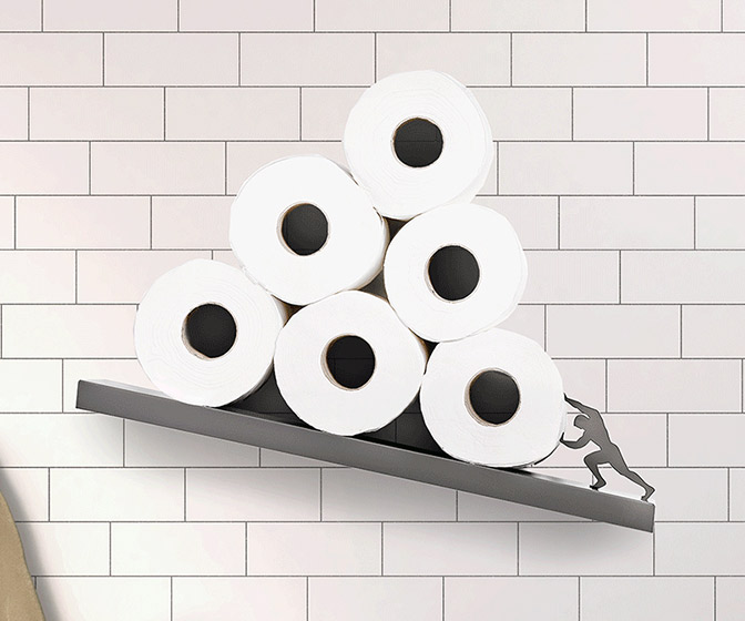 Sisyphus - Tilted Toilet Paper Shelf Inspired By Greek Mythology