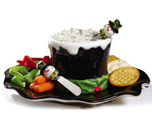 Snowman Top Hat Chip and Dip Serving Set