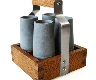 Soapstone Shooter Set With Rustic Ash Wood Serving Caddy