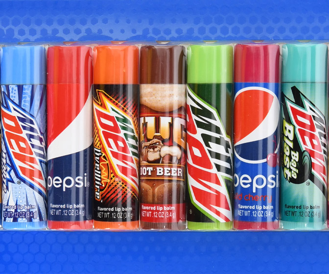 Soda Flavored Lip Balms - Pepsi, Mountain Dew Baja Blast, Mug Root Beer, and More!